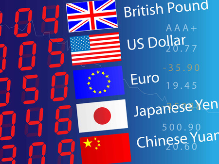 Currency exchange board, closeup Illustration