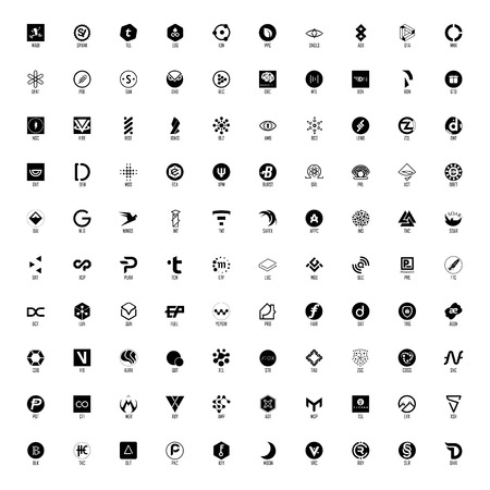 Set of hundred cryptocurrency, black and white, full names and official symbols in layers panel.