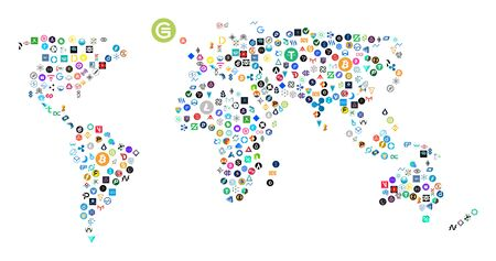 Mapa mundial, creado a partir de 200 iconos de criptomonedas oficiales diferentes