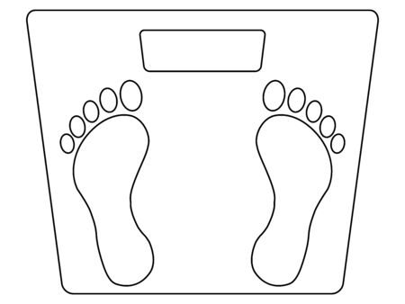 Simple black and white illustration of a weight scale, with footprint marks for standing position, and blank display