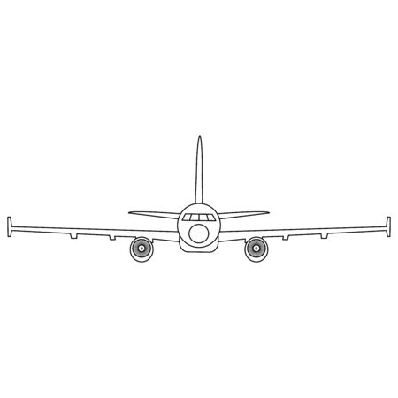 Simple black and white vector illustration of jet airplane, front view Reklamní fotografie - 134737106