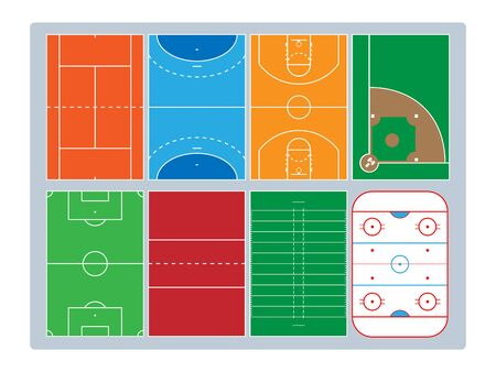 Popular sports courts, colored, top view