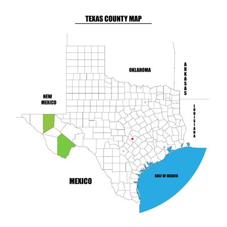 County map of Texas state, USA. Every county is named in Layers panel. Easy to select and edit entire content. Reklamní fotografie - 135263234