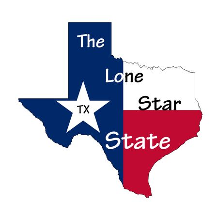 Flag map of Texas state, with