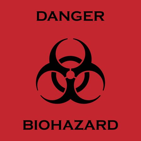 Official black Biohazard logo on red background Reklamní fotografie - 143848600