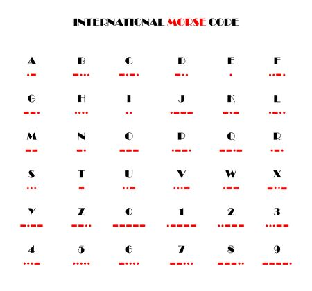 International Morse code, simple illustration with black characters and appropriate Morse symbols in red, on white background. Reklamní fotografie - 143750724
