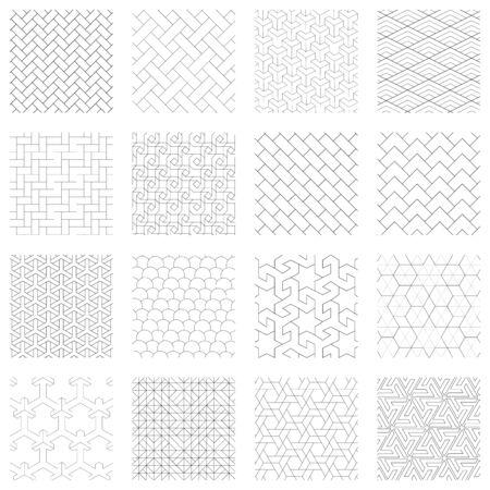 Set of 16 geometric patterns, black and white, various shapes Ilustrace