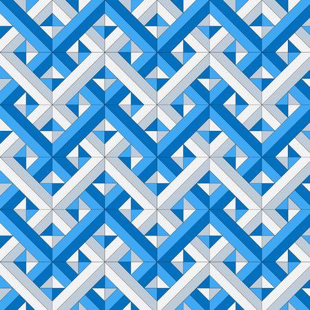 Blue an gray interlocking diagonal seamless  pattern, vector illustration