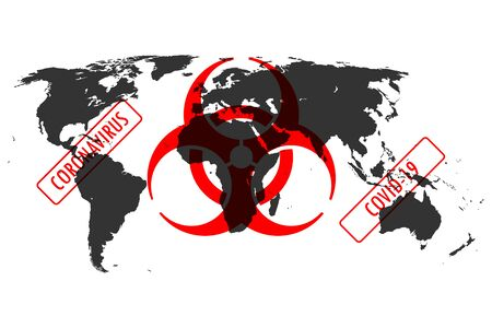 Illustration of Corona virus, Covid-19 related biohazard  sign over the world map. Concept of the world in quarantine or in danger. Ilustrace
