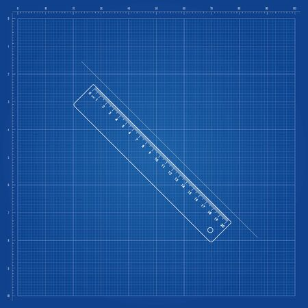 Blueprint template, with square grid and guides and transparent ruller in the center 일러스트