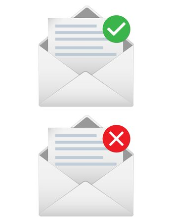 Open envelope icons with few paragraphs , green checked sign and red denial mark. Successfully and unsuccessfully sent message illustration, eps 10 Ilustrace