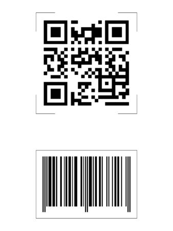 QR Code and Barcode illustration, vector file eps 10, simple, black&white Reklamní fotografie - 149784463