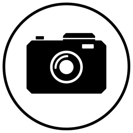 Black camera icon, inside of the black circle shape. Compound path, everything colored white inside of the circle is transparent, eps 10.