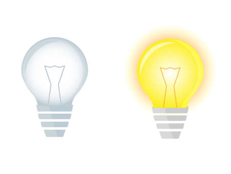 Illustration of two light bulbs, bulb turned on and bulb turned off, vector
