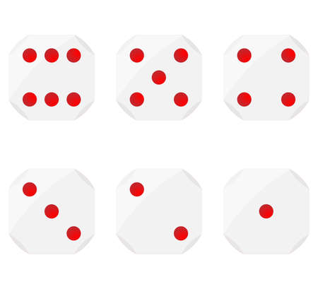 Set of dices, with curved edges and red dots for representing numbers, vector