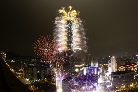 fireworks: Taipei 101 New Year Fireworks Stock Photo