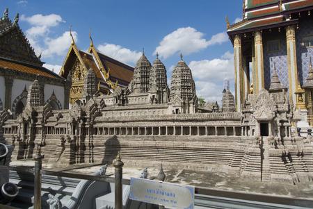 kaew: Angkor Wat replica at Wat Phra Kaew in Bangkok Thailand Stock Photo