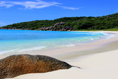 Beach Grande Anse Seychelles LaDigue Stock Photo