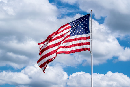 us state flag: United States of America USA flag in the wind large stock photo