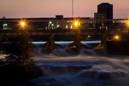 re: The Chaudière Falls hydroelectric facility in Ottawa at dusk. Stock Photo
