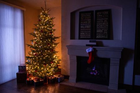 Family living room scene of  iconic Christmas tree scene