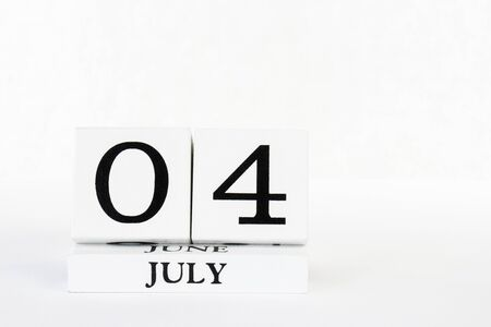 Independence Day July 4th calendar vertical white isolated background