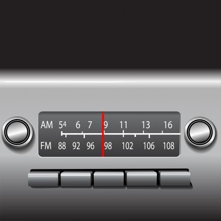 AM FM 자동차 대시 보드 빨간색 방송국 표시기가있는 라디오 튜너. 삽화, 사진이 아닙니다. 일러스트