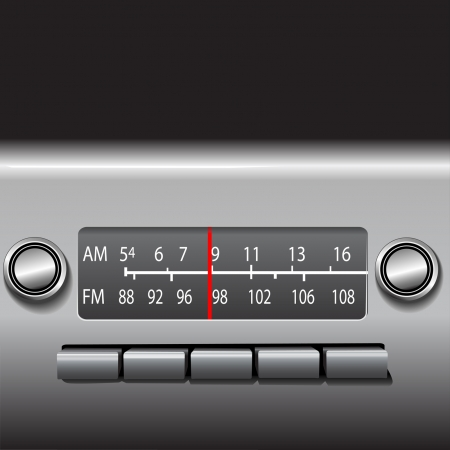 dashboard: AM FM Car Dashboard Radio Tuner with red station indicator. ILLUSTRATION, NOT A PHOTO. Illustration