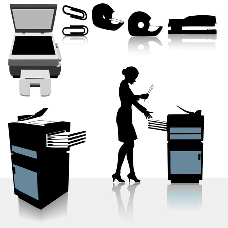 collate: Set of copy related office supplies, copiers and office worker business person making copies.