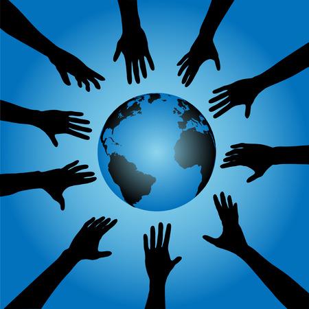 bevoelen: Mensen & Earth: Een cirkel van menselijke silhouetten hand reiken naar de aarde, aardbol.