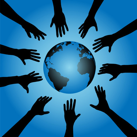 People & Earth: A circle of human hand silhouettes reach out toward the earth, globe. Illustration