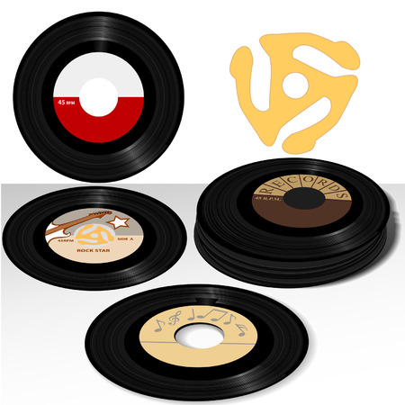 oldies: Stack of Retro 45 RPM single records: including sample label designs, and classic spindle adapter.