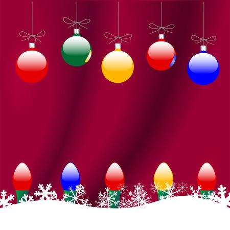 다채로운 메리 크리스마스 장신구와 빨간색 배경에 눈송이 뒤에 휴일 조명의 문자열.