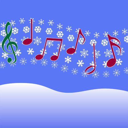 Christmas music notes in the air. Illustration