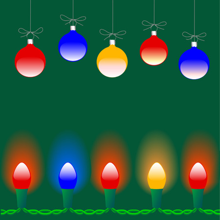 string of christmas lights: Colorful Merry Christmas decorations and string of holiday lights, copyspace in between. Illustration