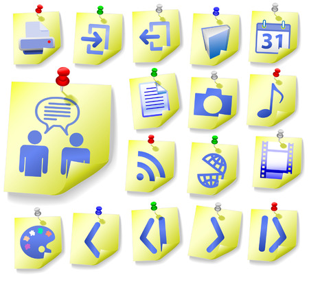input output: Yellow Notepad Memos and Blue Icons, with corner peels, in this Web Icon Set. Illustration