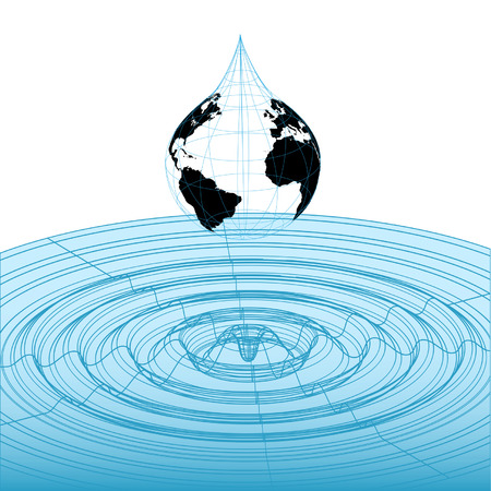 oscillation: Earth globe rain drop falls into classic 3D wireframe waveform graphic, mathematical wave pattern. Illustration