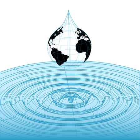 Earth wereldbol druppel regen valt in klassieke 3D wireframe golfvorm grafisch, wiskundige golf patroon. Stock Illustratie
