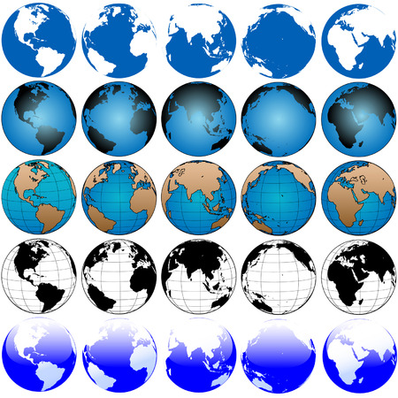 oceans: 25 global views, variations of the globe, a set of earths, useful as icons