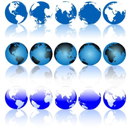 the americas: Collection of Blue Earth Globes with Shiny Reflections. Set includes Americas; Eastern Hemisphere; Asia; Atlantic; Pacific globe views. Illustration