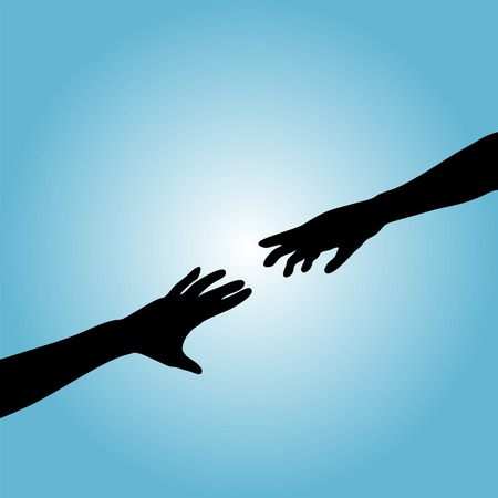A couple hands reach across a gradient background to touch. Illustration