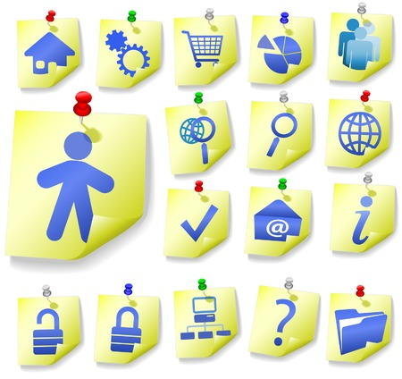 Yellow Notepad Memos and Blue Icons, with corner peels, in this Web Icon Set. Vector