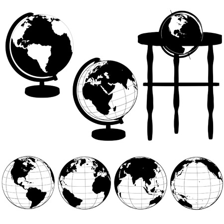 hemisphere: Silhouettes of Globes on Stands, and a set of various globe views: Eastern Hemisphere; Asia; Atlantic; Pacific. Illustration