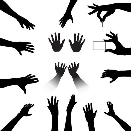 Llegar y agarrar esta gente Manos Silhouettes Set, una colección para todos su alcance, toque, mantenga necesidades.  Ilustración de vector