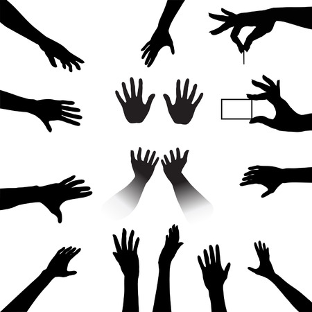 reach: Reach out and grab this People Hands Silhouettes Set, a collection for all your reach, touch, hold needs.