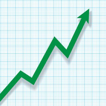profit and loss: Illustrazione: Azienda Profit Loss Chart grafico su carta con ombra.
