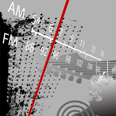 radio station: Radio Grunge Retrospective: AM FM Radio Tuner with red station indicator.