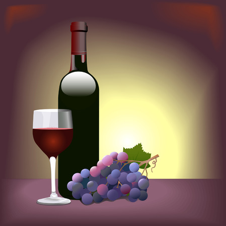 Red Wine Vignette: Scene with Bordeaux bottle, grapes, wine glass. Çizim