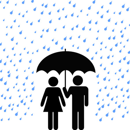 storm rain: Couple of people protected from rain, harm under a secure safety umbrella.