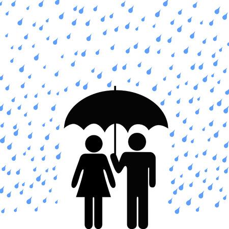 uomo sotto la pioggia: Paio di persone protette da pioggia, danni per garantire la sicurezza nel quadro di un ombrello. Vettoriali